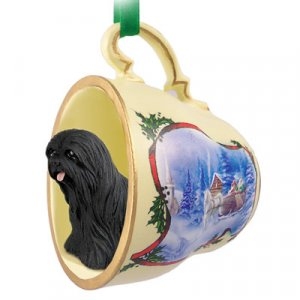 Lhasa Apso, Black Sleigh Ride Holiday Tea Cup Ornament
