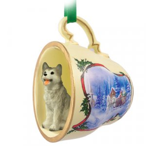 Husky, Gray & White, Brown Eyes Sleigh Ride Holiday Tea Cup Ornament