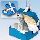 Husky, Gray & White, Brown Eyes Blue Gift Box Ornament
