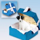 Jack Russell Terrier, Black & White, Rough Coat Blue Gift Box Ornament