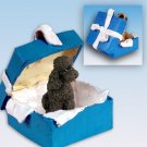 Poodle, Chocolate, Sport cut Blue Gift Box Ornament