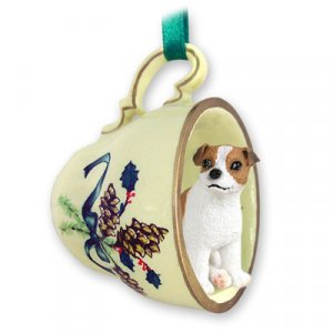 Jack Russell Terrier, Brown & White, Smooth Coat Green Holiday Tea Cup Ornament