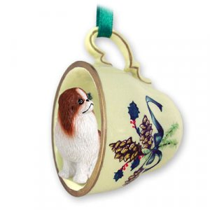 Japanese Chin, Brown & White Green Holiday Tea Cup Ornament