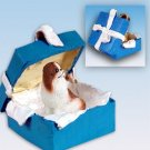 Japanese Chin, Brown & White Blue Gift Box Ornament