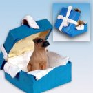 Boxer, Tawny, Uncropped Blue Gift Box Ornament