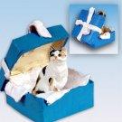 Shorthair Calico Blue Gift Box Ornament