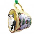 Manx Black & White Snowman Holiday Tea Cup Ornament