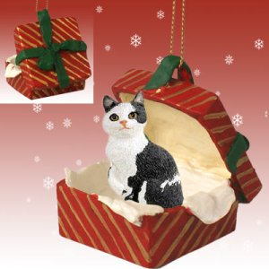Manx Black & White Red Gift Box Ornament