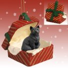 Shorthair Black Tabby Red Gift Box Ornament