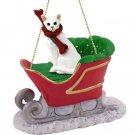 Oriental Shorthair White Sleigh Ride Ornament
