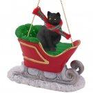 Short Hair Black Cat Sleigh Ride Ornament