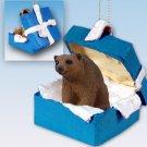 Brown Bear Blue Gift Box Ornament