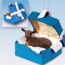 Goat, Brown Blue Gift Box Ornament
