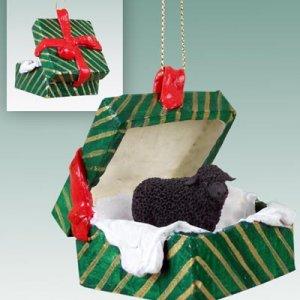 Sheep, Black Green Gift Box Ornament