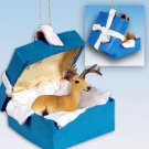 Deer, Buck Blue Gift Box Ornament