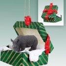 Rhinoceros Green Gift Box Ornament