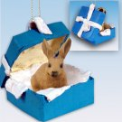 Rabbit, Brown Blue Gift Box Ornament
