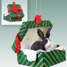 Rabbit, Black & White Green Gift Box Ornament