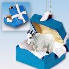 Mountain Goat Blue Gift Box Ornament
