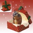 Chipmunk Red Gift Box Ornament