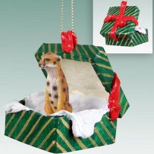 Cheetah Green Gift Box Ornament