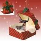 Long Horn Steer Red Gift Box Ornament