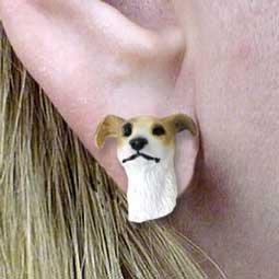 Greyhound Tan Earring Post