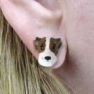 Whippet Brindle & White Earrings Post