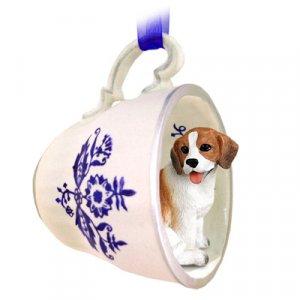BTCD14 Beagle Blue Tea Cup Ornament