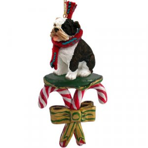 DCC05B Bulldog, Brindle Candy Cane Ornament