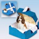 BGBD80A Cavalier King Charles, Brown & White Blue Gift Box Ornament