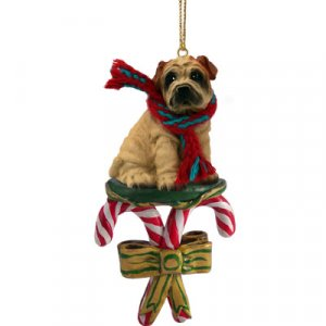 DCC40C Shar Pei, Cream Candy Cane Ornament