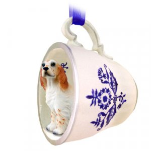 BTCD84B English Setter, Orange Belton Blue Tea Cup Ornament