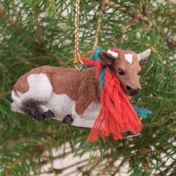 ATX38 Guernsey Bull Christmas Ornament