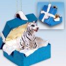 BGBA11B Tiger, White Blue Gift Box Ornament