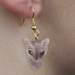 CHEH07 Cornish Rex Blue Hanging Earrings