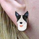 DHE07B Bull Terrier Brindle Earrings Post