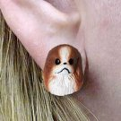 DHE110B Japanese Chin Brown & White Earring Post