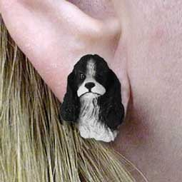 DHE15E Cocker Black & White Earrings Post