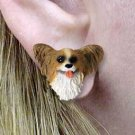 DHE47A Papillion Brown & White Earring Post