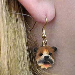 DHEH05A Bulldog Earrings Hanging
