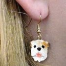 DHEH05C Bulldog White Earrings Hanging