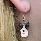 DHEH07B Bull Terrier Brindle Earrings Hanging