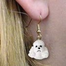 DHEH104A White Poodle Earrings Hanging