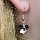 DHEH105B Jack Russell Smooth Coat Black & White Earrings Hanging