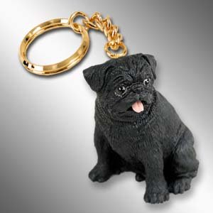 DTK18B Pug, Black Keychain