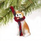 DTX17C Husky, Red & White, Blue Eyes Christmas Ornament