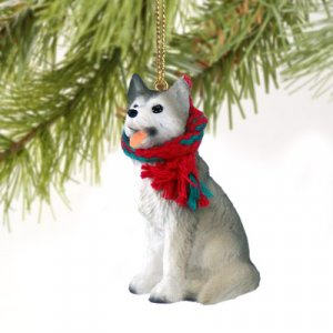DTX17D Husky, Gray & White, Brown Eyes Christmas Ornament