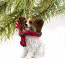 DTX47A Papillon, Brown & White Christmas Ornament