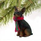 DTX57A Min Pin, Tan & Black Christmas Ornament